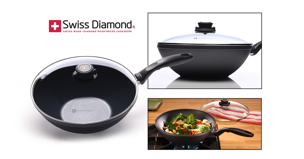 swiss diamond wok mit deckel f r induktionsherd 28cm. Black Bedroom Furniture Sets. Home Design Ideas