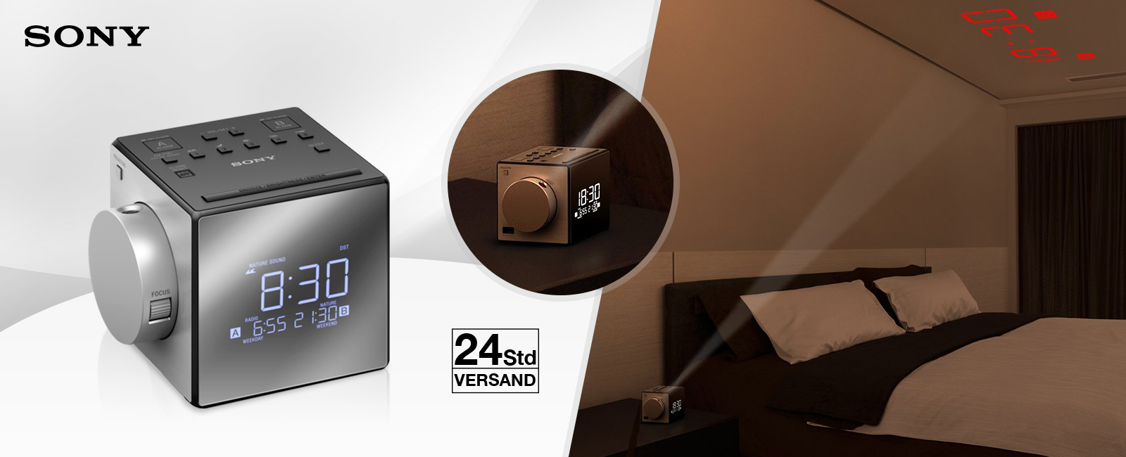 sony icf c1pj uhrenradio mit zeitprojektor. Black Bedroom Furniture Sets. Home Design Ideas
