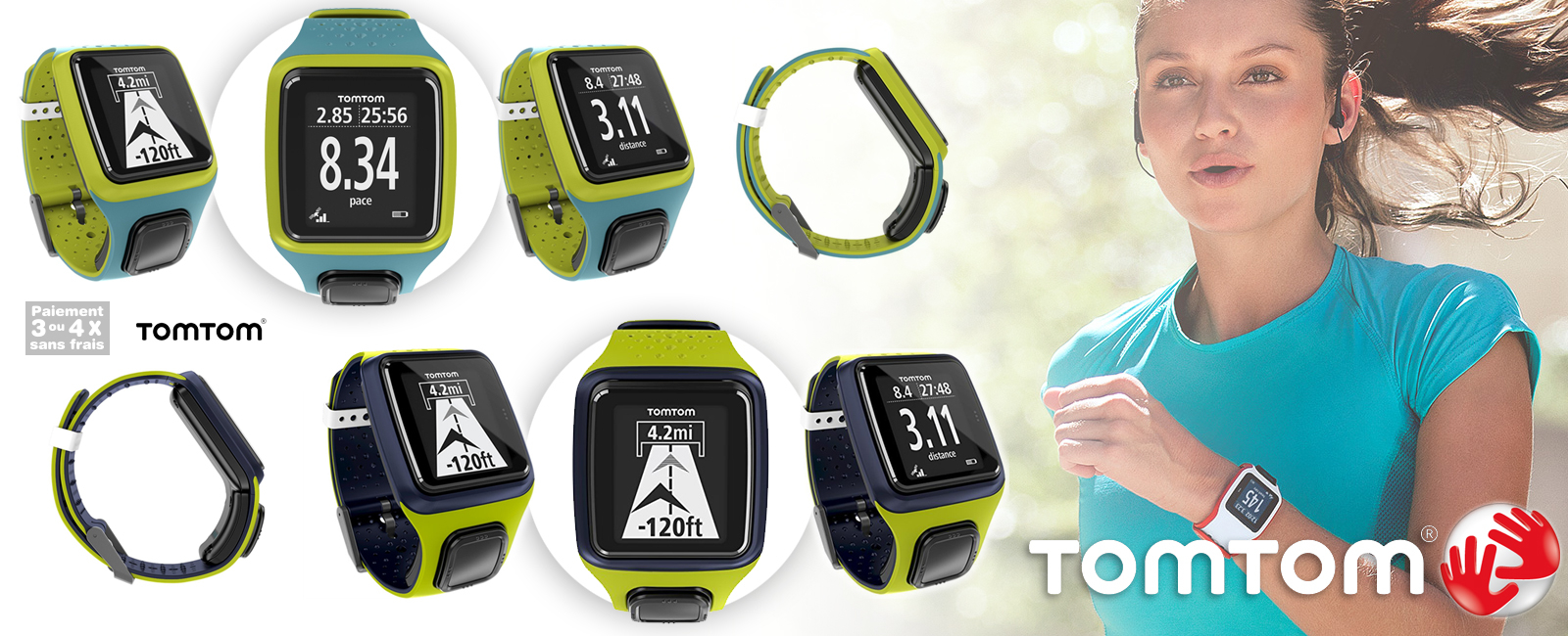 montre gps tomtom runner turquoise bright green. Black Bedroom Furniture Sets. Home Design Ideas